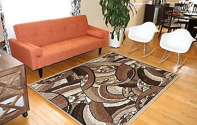 New Area Rug Beige Brown Modern Squares Fast Shipping Generations 8005