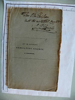 Vintage ; Aug 20 1829; Dedication Of 2Nd Cong Church Worcester (2109)