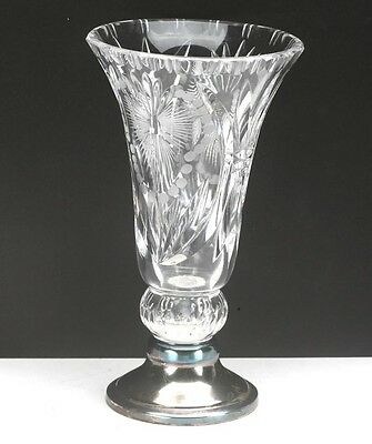 """Vintage French Baccarat 6"""" Tall Crystal Vase w/ Silver Base. Hand Cut. Ex."""
