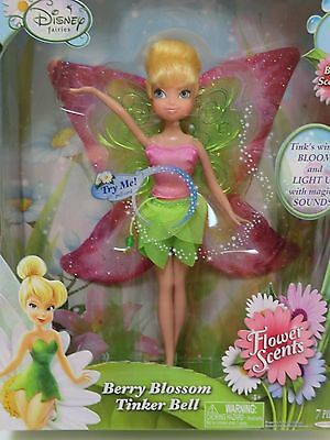 """Disney Fairies Tinkerbell Berry Blossom Doll 9"""" Flower Secents Tinker Bell New"""