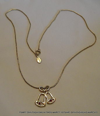 Lovely Vintage Avon Gold Tone Christmas Bells w Red Stone Clappers Necklace