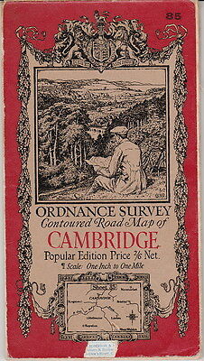 Ordnance Survey Contoured Road Map Of Cambridge England - 1929