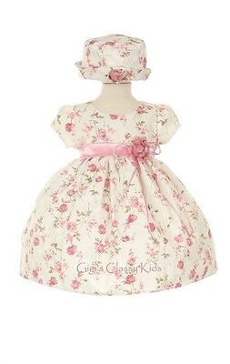 New Baby Girls Pink Flower Printed Jacquard Dress Easter Party w/ Hat USA ME839C