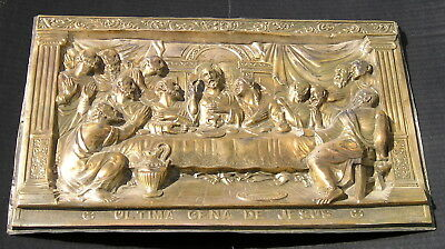 Antique Aesthetic Eastlake Victorian Gold Brass Deep Last Supper Picture Jesus