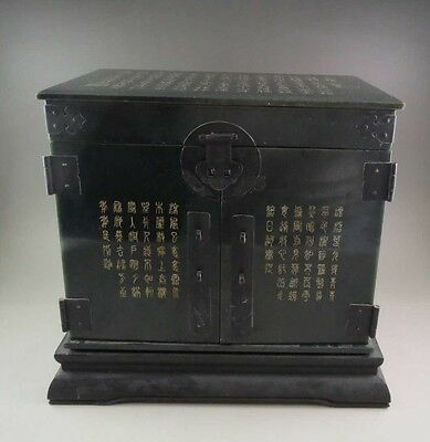 4105G ANTIQUE CHINESE OLD HETIAN JADE CARVED BOX WITH CHINESE CHARACTERS