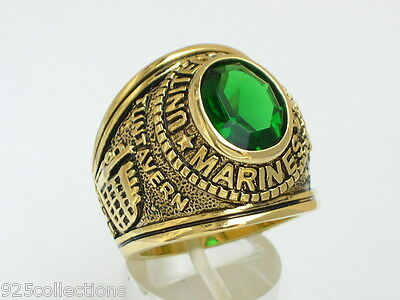 12x10 mm United States Marines Military May Green Emerald Men's Ring Size 7-15