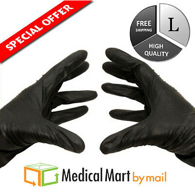 100 Black Nitrile Disposable Powder Free Gloves (Non-Latex) 3.5 Mil Size: Large