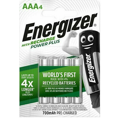 4 x ENERGIZER AAA 700 mAH POWER PLUS Rechargeable Batteries ACCU 700mA LR03 K3Ah