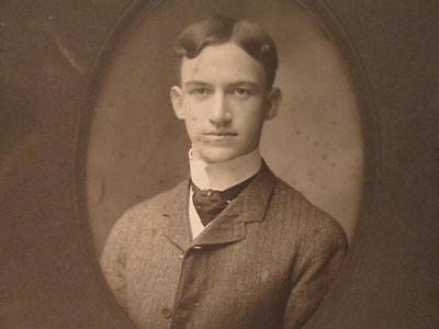 Huntington & Moore Detroit Antique Matted Cabinet Portrait Young Man with Ascot
