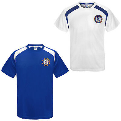 Chelsea FC Official Football Gift Boys Poly Training Kit T-Shirt Blue White