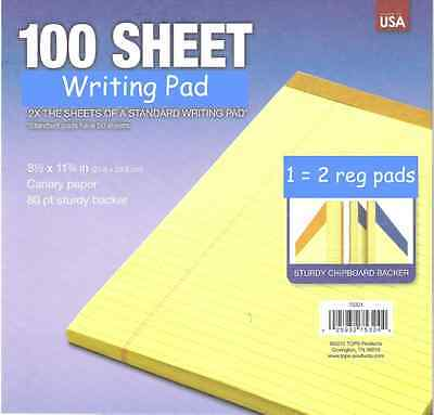 """Bonus Size Pad 8-1/2 x 11"""" YELLOW LEGAL NOTE PAD lined LARGE 100 SHEET Tops USA"""