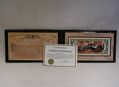 $2 Two Dollar Bill  Colorized / Uncirculated / Authentic in Hard Cover Display