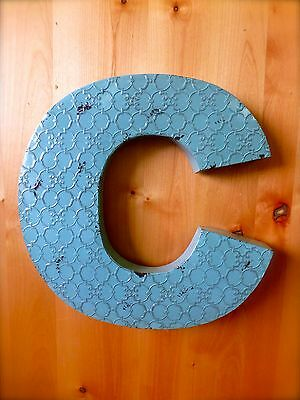 "INDUSTRIAL BLUE METAL WALL LETTER ""C"" 20"" TALL rustic vintage decor novelty sign"