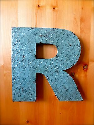 "INDUSTRIAL BLUE METAL WALL LETTER ""R"" 20"" TALL rustic vintage decor novelty sign"