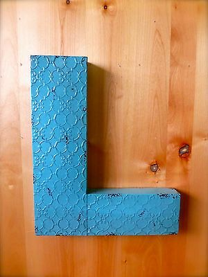 """INDUSTRIAL BLUE METAL WALL LETTER """"L"""" 20"""" TALL rustic vintage decor novelty sign"""