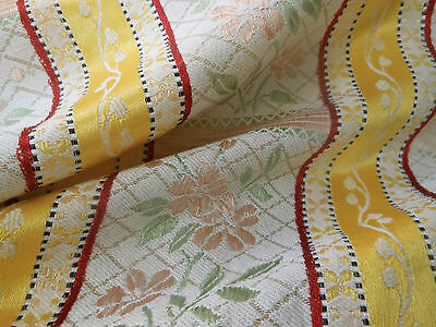 Vintage Retro French Satin Floral Stripe Lisere Brocade Fabric ~Yellow Peach