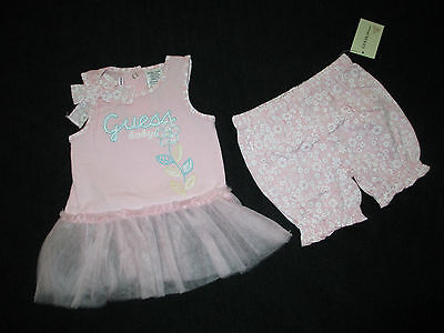NWT Baby Guess Girls 2 Pc Pink Outfit Dress Floral Bloomers 6-9 Mo
