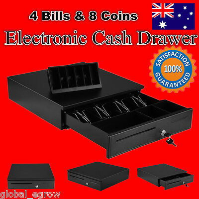 New! Compact Electronic Heavy Duty Metal Cash Drawer Pos System Cash Till Box Au