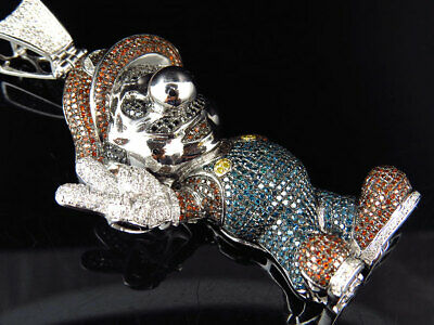 Colored Genuine Diamond Cartoon Character Pendant In Solid 10k White Gold (8 Ct)