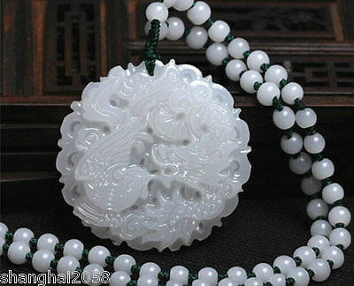 New Chinese jade hand-carved pendant Dragon/phoenix With necklace-