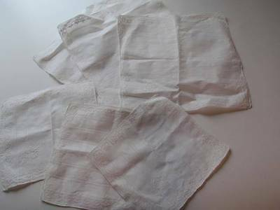 """New Lot of 6 Square Linens- Two size squares 3/16.5"""" x 16.5"""" 3/11"""" x 11"""""""