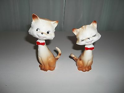 Vintage Tall Cats Salt & Pepper Shakers w/Red Bow Ties
