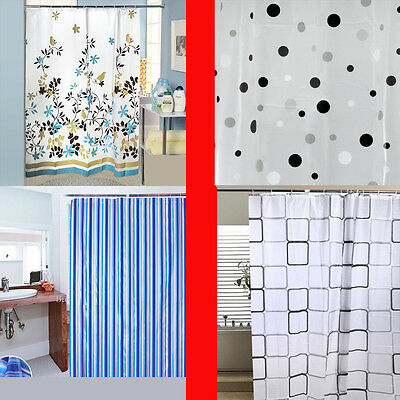 LUXURY MODERN DESIGN WATER REPELLENT BATHROOM SHOWER CURTAINS WITH HOOKS 180x180