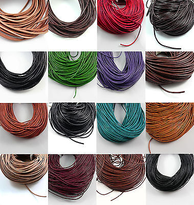*HIGH QUALITY GENUINE ROUND LEATHER CORD 2mm 3mm 4mm STRINGING JEWELLERY MAKING