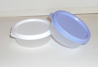 New TUPPERWARE Small Bowl Giant Smidgets Half Mini Snack Cups Set White Blue