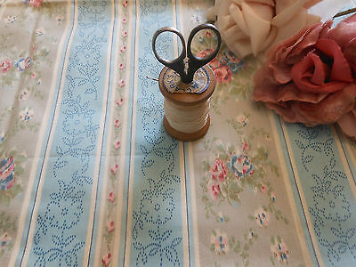 Antique Shabby Cottage Roses Ticking Fabric ~ Rose Pink Blue Gray