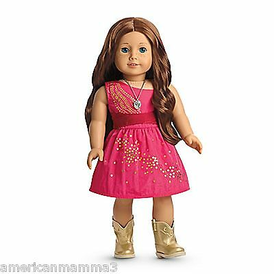American Girl LE SAIGE SPARKLE DRESS for Dolls Gold Sequins New Fancy NEW
