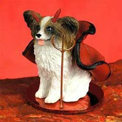 PAPILLON Brown White Devil Dog Tiny One Figurine Statue