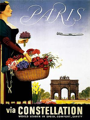 ART PRINT POSTER TRAVEL TOURISM AIRLINE ARC DE TRIOMPHE PARIS FRANCE NOFL1379