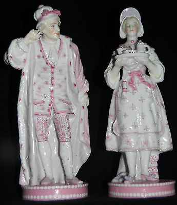 c.Two 1845+ BAURY & VION French Bisque PORCELAIN Formal Gallant & Maid FIGURINES