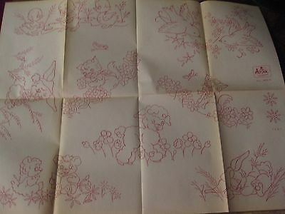 IO-A325  VTG ARTEX HAND  EMBROIDERY TRANSFER-baby animal design-quilt
