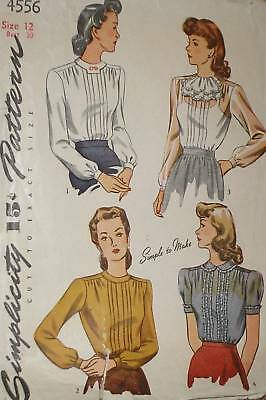 Vtg 40s S4556 Pleated Fitted Blouse w/ Jabot Pattern 30