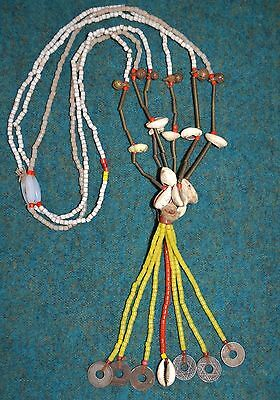 Antique Fulani Tribal Necklace W Brass Bells, Glass Beads & Cowrie Shells
