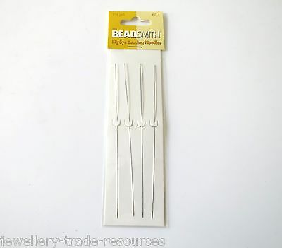 "4x 5"" BEADSMITH BIG EYE BEADING WIRE NEEDLES STRINGING THREADERS BEADS & PEARLS"