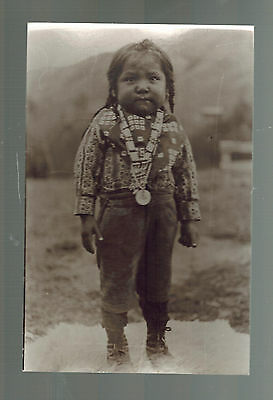 Vintage Real Picture Postcard Native American Indian Standing Baby RPPC