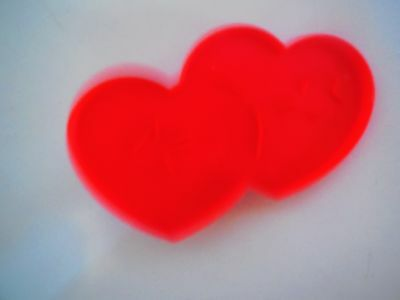 1990 Wilton Plastic Red Valentine Doule Heart with Arrow Cookie Cutter w Handle