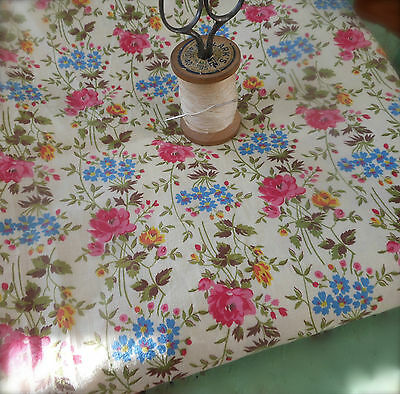 Antique Gorgeous Cottage Roses Floral Cotton Fabric ~  Deep Pink Blue Yellow