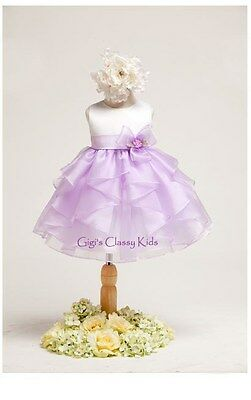 New Baby Girls White Lilac Dress Wedding Pageant Party Easter Fancy Flower USA