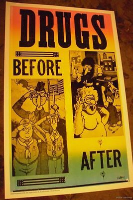 VINTAGE 60S DRUGS BEFORE AFTER HEAD SHOP HIPPIE POSTER pot weed pothead stoner