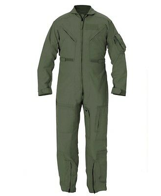 Nomex Flight Suit Flyers Coveralls Sage Green Size 44R CWU-27/P GRADE A