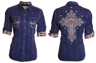 AFFLICTION Womens Button Down Shirt SPURS Embroidered ROAR BKE Sinful XS-L $98