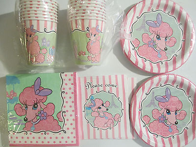 PINK POODLE Birthday Party Supplies Set Pack w/ Invitations