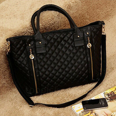 Stylish Women Classic Black Leather Quilted Shoulder Tote Bag Handbag New DSUS
