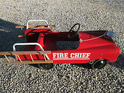 Vintage Pedal Fire Truck - Fire Chief -Original  Bell , Ladders
