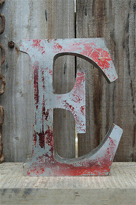 Medium Vintage Style 3D Red E Shop Sign Letter Tin Wall Art Letter Font 8 Inch