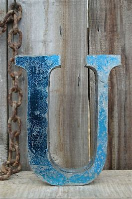 Medium Vintage Style 3D Blue U Shop Sign Letter Tin Wall Art Letter Font 8 Inch